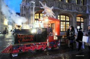 Le marché de Noël envahi la place de la cathédrale a Rennes avec ses exposants de tout genre. Vous prendrez bien un cornet de marrons chaud pour vous régaler ?